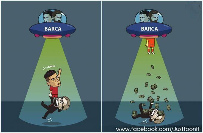 """Karikatura: """"Barselona"""" pul sochib ketdi"""