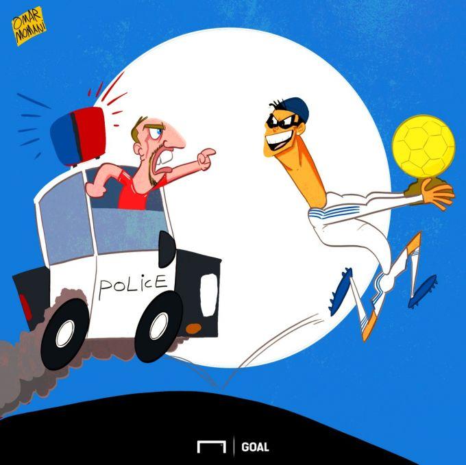 """Omar Momanidan yangi karikatura: 2013 yilda Ronaldu Riberining """"Oltin to'pi""""ni o'g'irlab ketgan"""