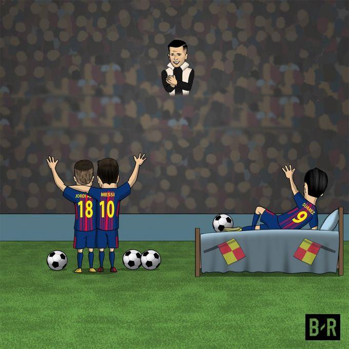 "Karikatura: ""Barselona"" Koutinoga g'alaba tamini taqdim etdi"
