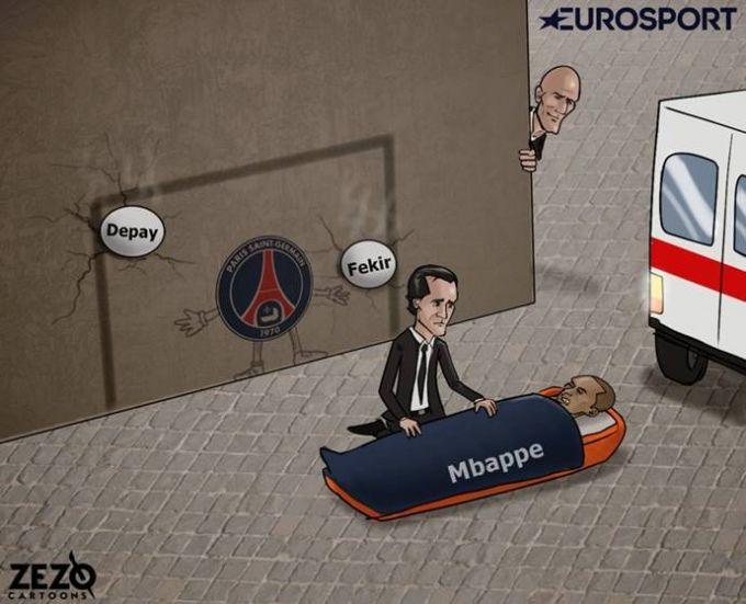 Karikatura: PSJ engilgan o'yinda Mbappe jarohat oldi