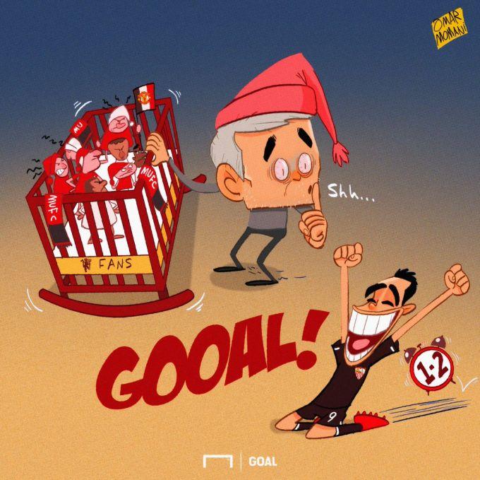 Omar Momanidan yangi karikatura: Mourino muxlislarni uxlatayotganda Ben Yedder 2ta gol urib qo'ydi