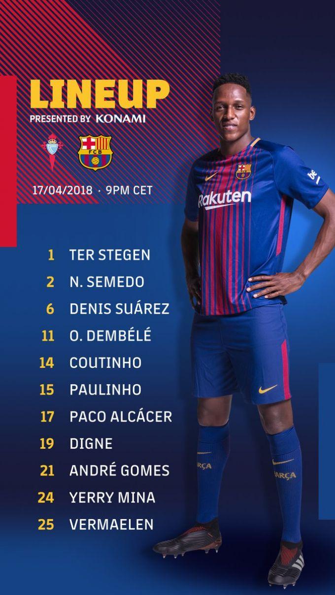 """""""Barselona""""ning """"Selta"""" bilan o'yin uchun tarkibi malum. Messi va Suares zaxirada"""