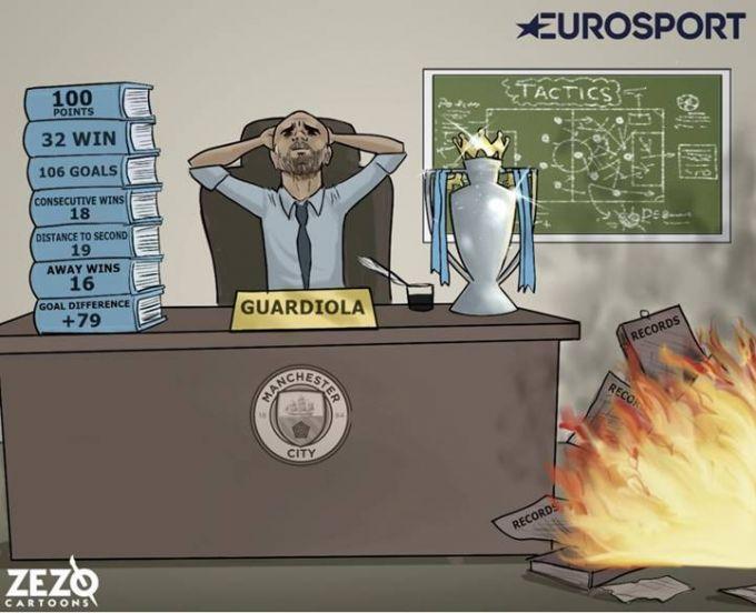 """Karikatura: Gvardiola APLda rekordlarni """"qalashtirib tashladi"""""""