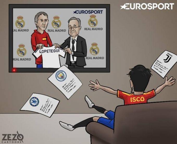 """Karikatura: Lopetegining """"Real""""ni boshqarishi Isko uchun xushxabar"""