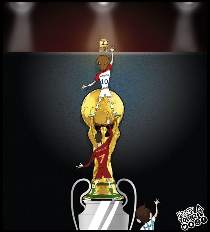 Karikatura: Modrich Ronaldu va Messining gegemonligiga barham bera oladimi?!