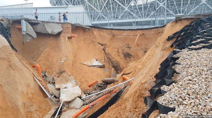 JCH-2018 tugadi. Volgoraddagi stadion atrofidagi yo'l o'pirilib tushdi FOTO