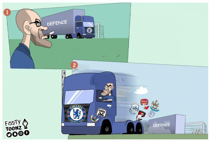 """Karikatura: Sarri """"CHelsi""""da """"avtobus""""dan voz kechdi"""
