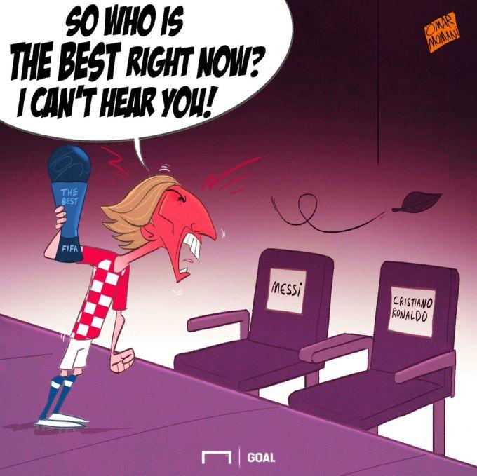 Omar Momanidan Modrichning Ronaldu va Messidan o'tib ketganiga bag'ishlangan karikatura