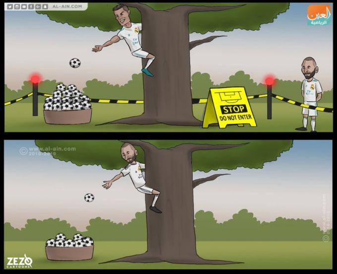 Karikatura: Ronaldu ketganidan so'ng Benzema asosiy rolda