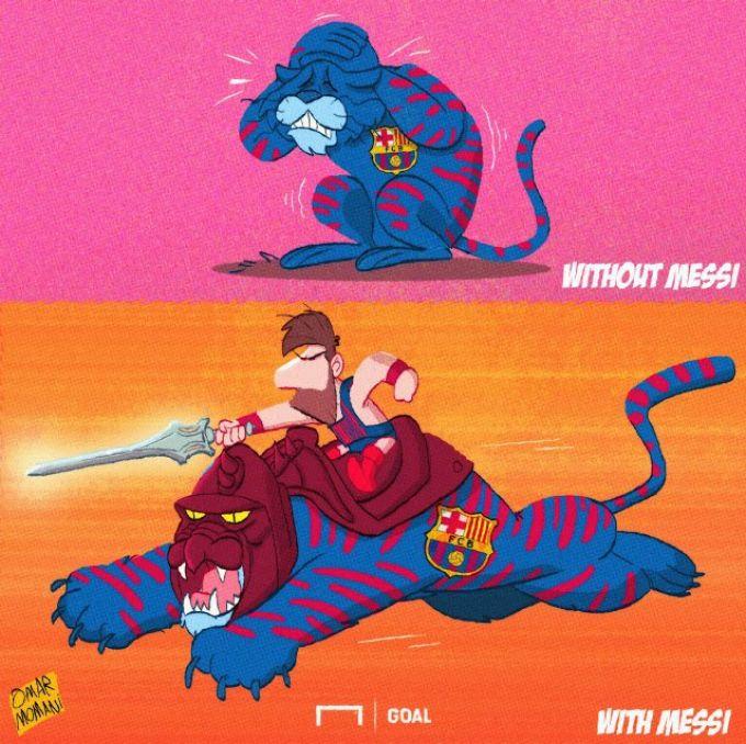 """Omar Momanidan yangi karikatura: """"Barselona"""" Messisiz"""