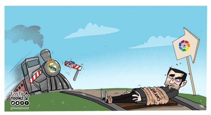 """Karikatura: """"Real"""" borgan sari """"Barselona"""" jamoasiga yaqinlashib kelmoqda"""