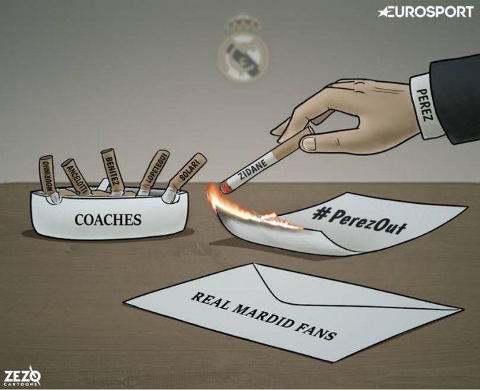 """Karikatura: """"Real"""" va Peresni faqat bir odam qutqarib qolishi mumkin"""