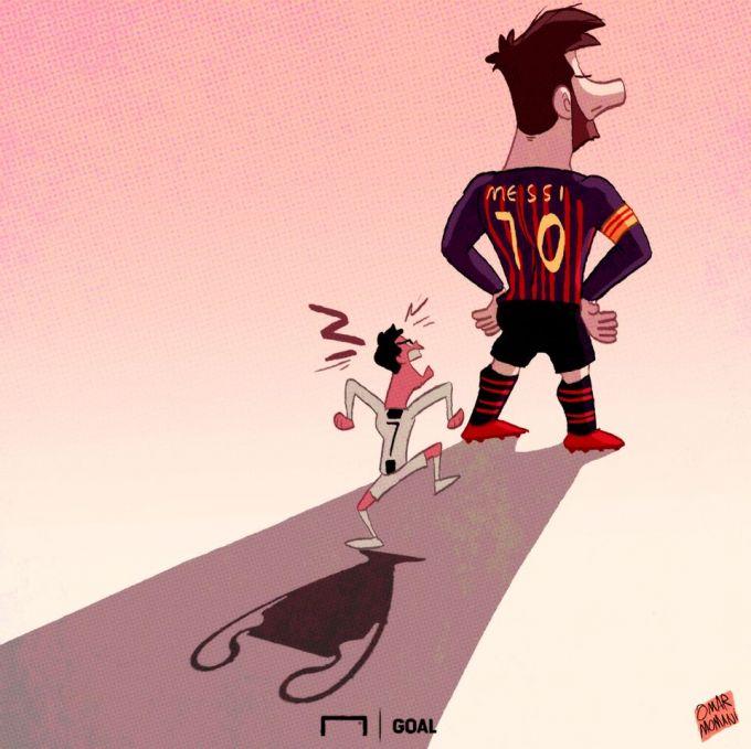Omar Momanidan yangi karikatura: Ronaldu Messining soyasida qolib ketdi