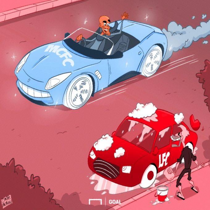 "Omar Momanidan karikatura: ""Manchester Siti"" - Ferrari, ""Liverpul"" esa - Ford Mondeo"" - liverpul.uz"