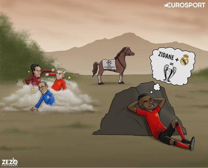"""Karikatura: Pogbaning hayoli Zidan va """"Real""""da"""