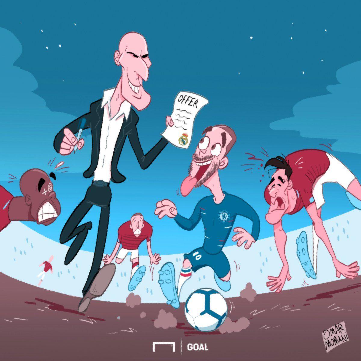 """Omar Momanidan yangi karikatura: Zidan Azarni """"Real""""da ko'rmoqchi"""