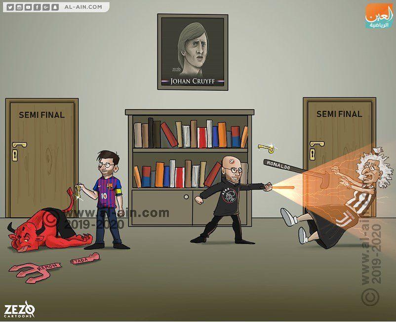 """Karikatura: """"Barselona"""" va """"Ayaks"""" raqiblarini taslim qildi"""