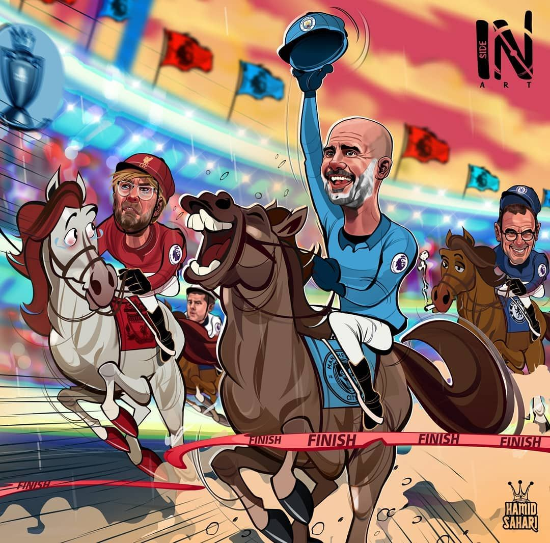 Karikatura: APL chempionlik poygasida Gvardiola g'olib bo'ldi