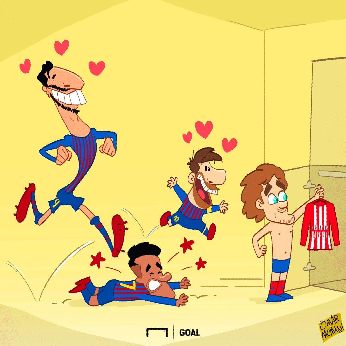 """Omar Momanidan yangi karikatura: Grizmann ketishini malum qilganidan keyin """"Barselona"""" futbolchilarining ahvoli"""
