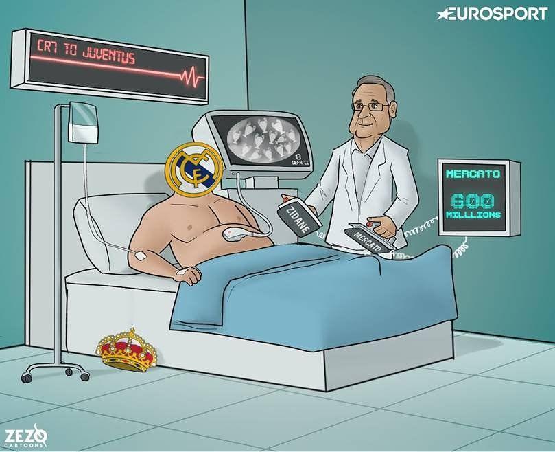 """Karikatura: Peres """"Real""""ni jonlantirish uchun Zidan va 600 million evrodan foydalanmoqda"""