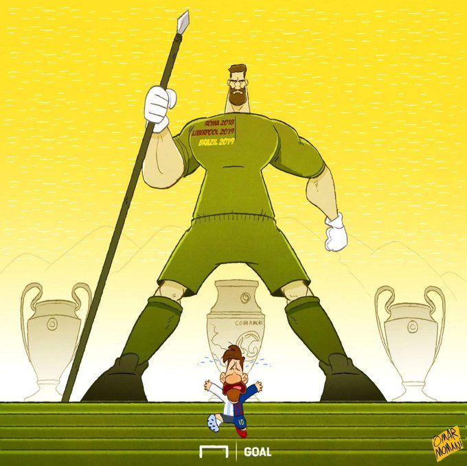 Omar Momanidan yangi karikatura: Messi Alisson to'sig'idan o'ta olmadi