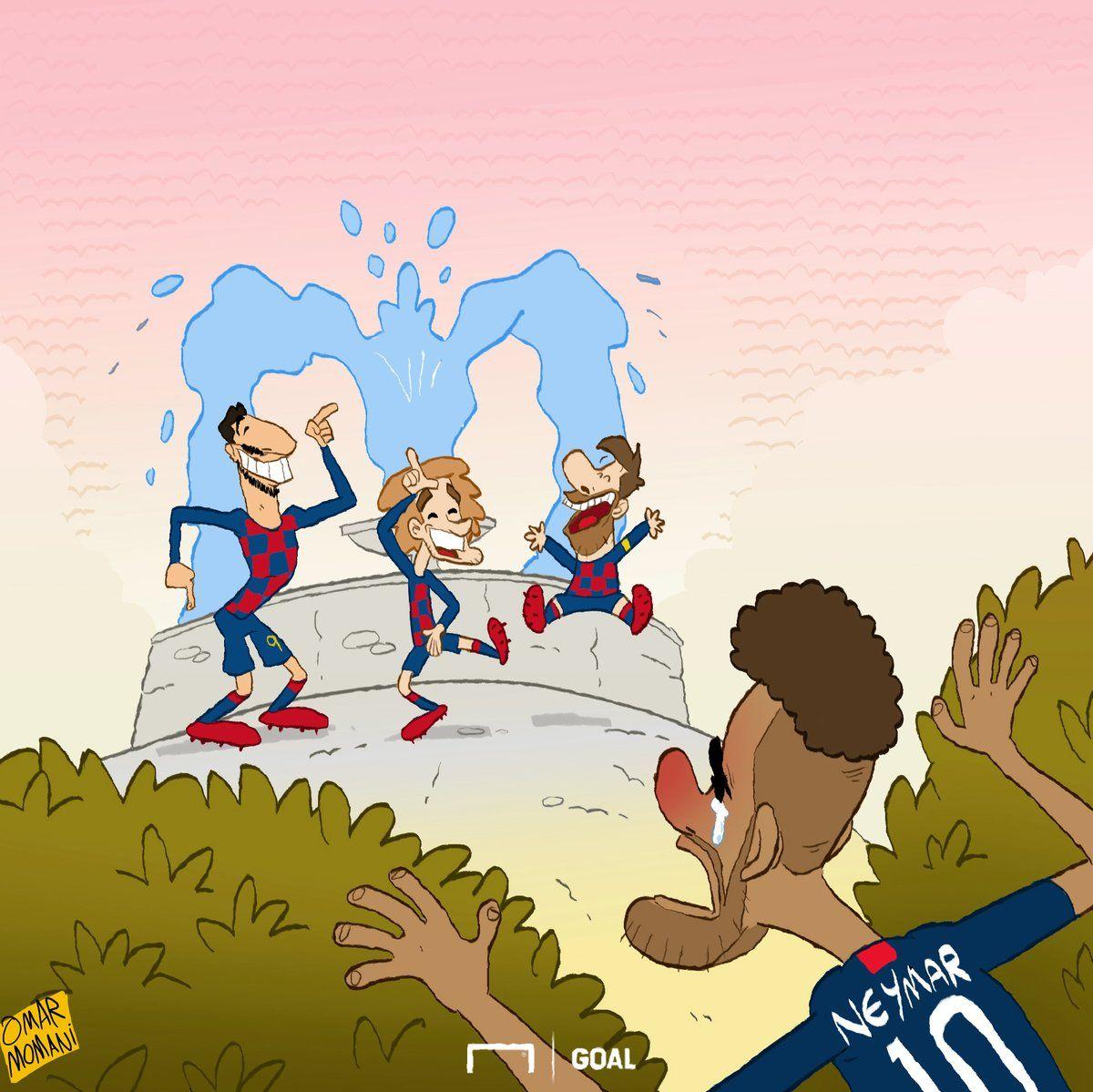 "Omar Momanidan yangi karikatura: Grizmann ""Barselona""da, Neymarchi?!"