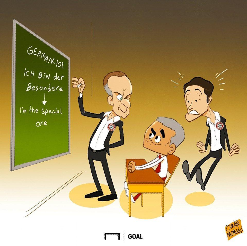Omar Momanidan yangi karikatura: Mourinyu nemis tilini o'rganishni boshladi