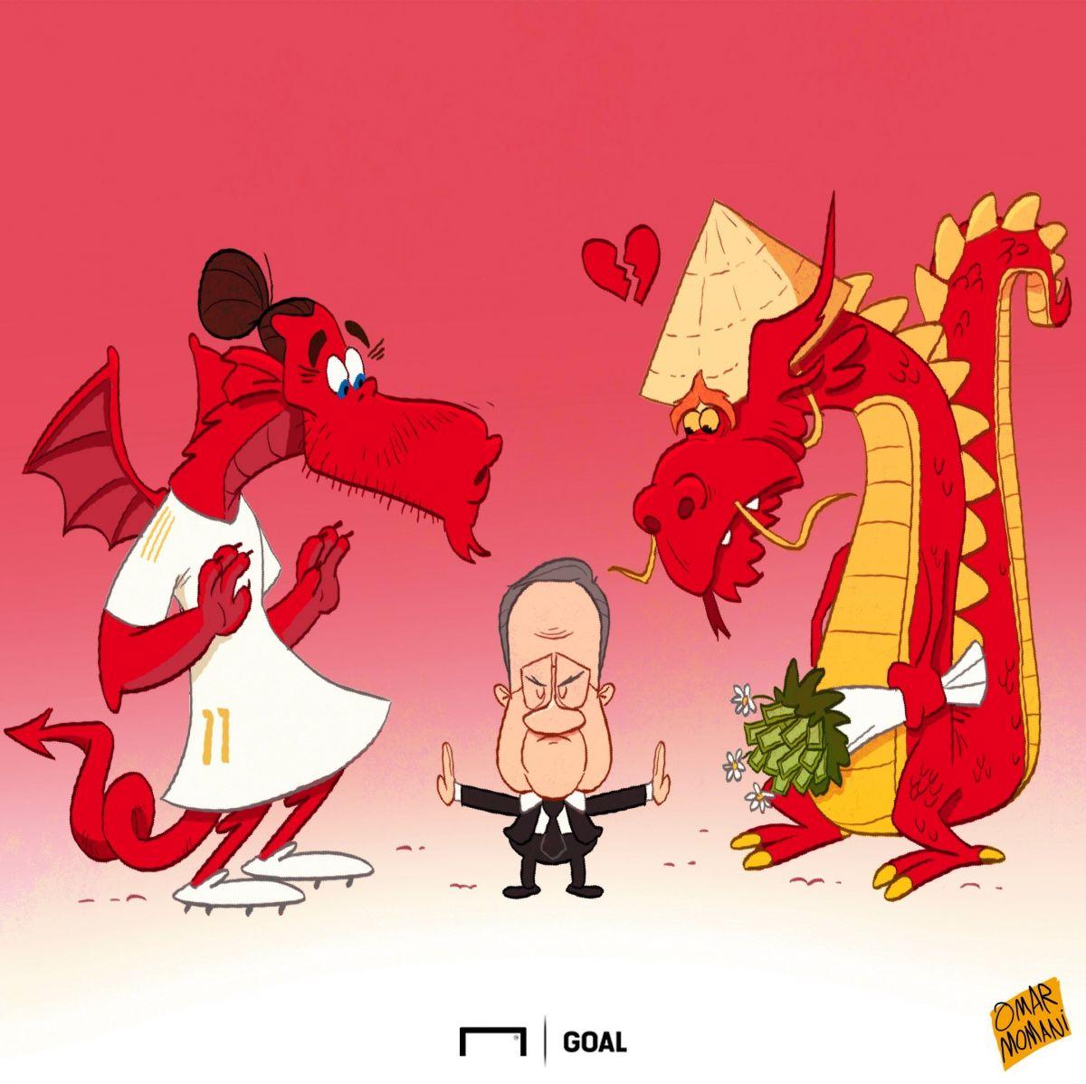 Omar Momani karikaturasi: Garet Beylning Xitoyga o'tishi amalga oshmaydigan ko'rinadi