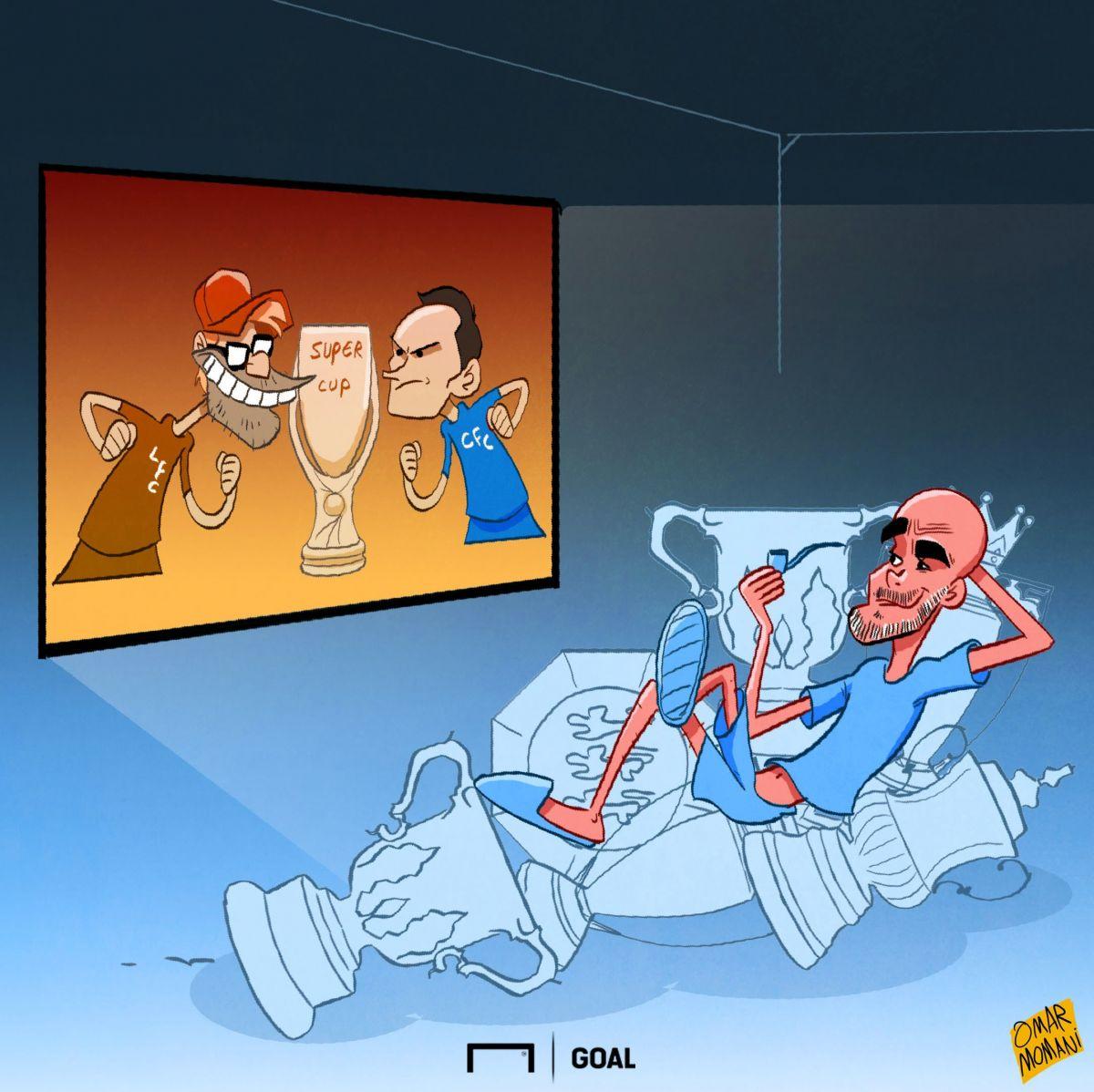 """Omar Momanidan karikatura: Bugun """"Liverpul"""" va """"CHelsi"""" o'ynaydi. Gvardiola esa xotirjam"""