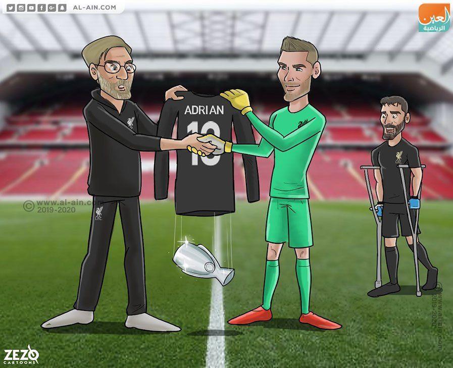"""Karikatura: Adrian """"Liverpul""""ga UEFA Superkubogini taqdim etdi"""