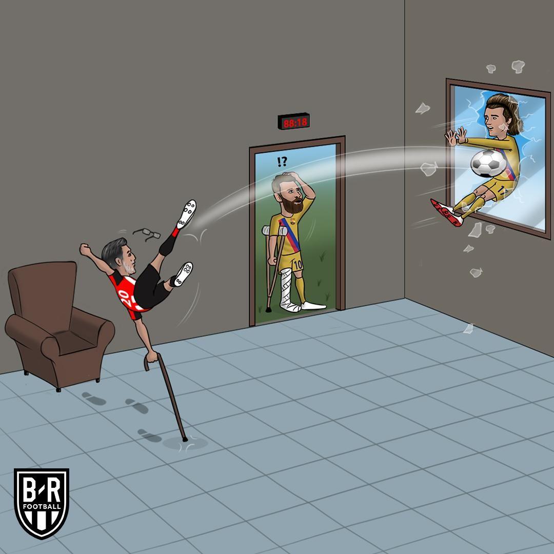 Karikatura: Qariya Aduris qaychi uslubida gol urdi