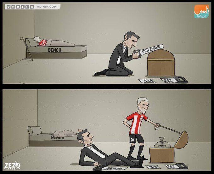Karikatura: Qariya Aduris zaxiradan maydonga tushib, jamoasiga 3 ochko olib berdi