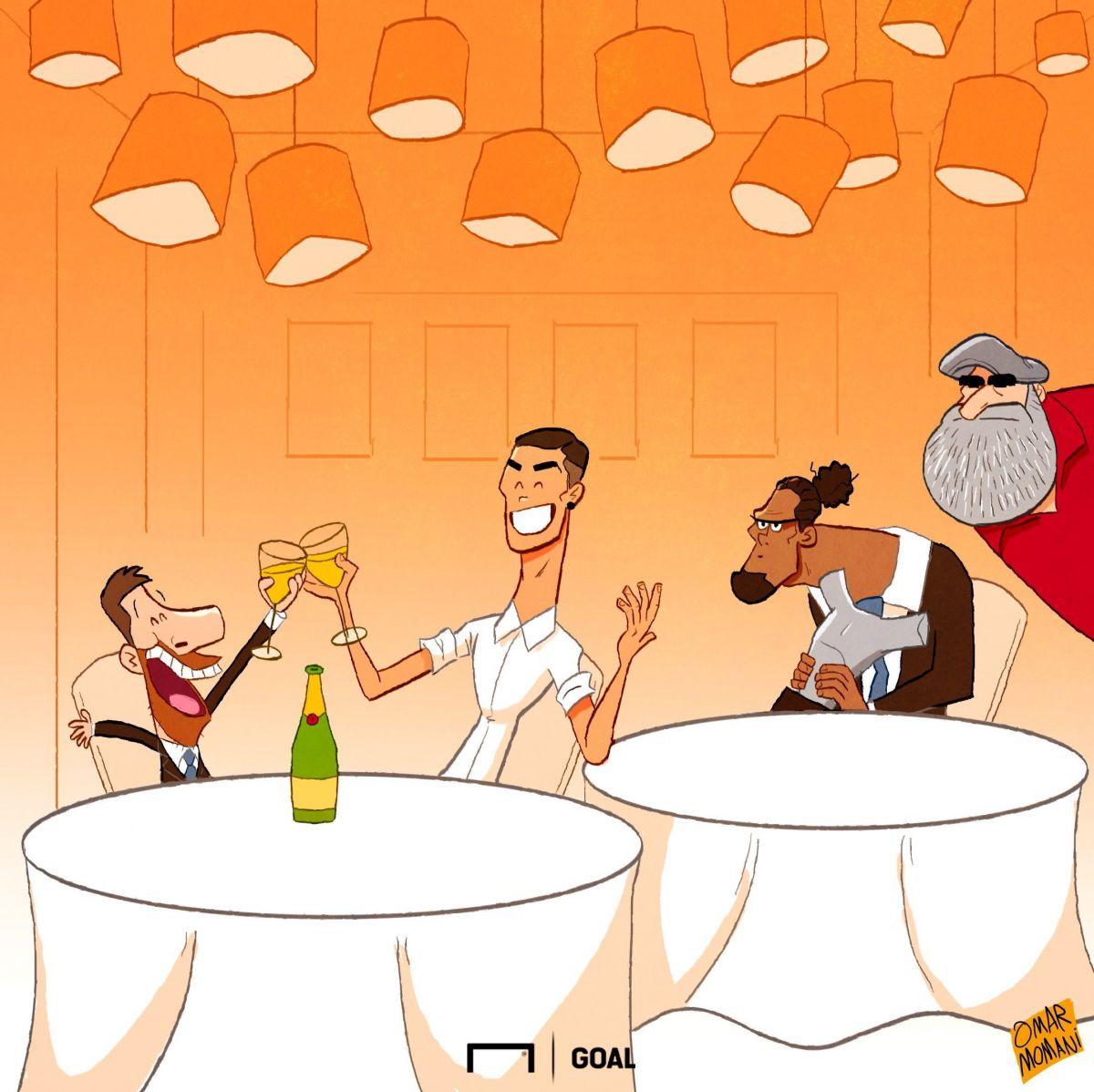 Omar Momanidan yangi karikatura: Ronaldu va Messi nihoyat birga tushlik qilishdi