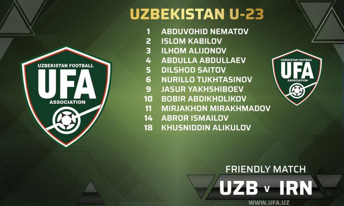 O'zbekiston U23 terma jamoasining Eron U23 bilan o'yin uchun boshlang'ich tarkibi