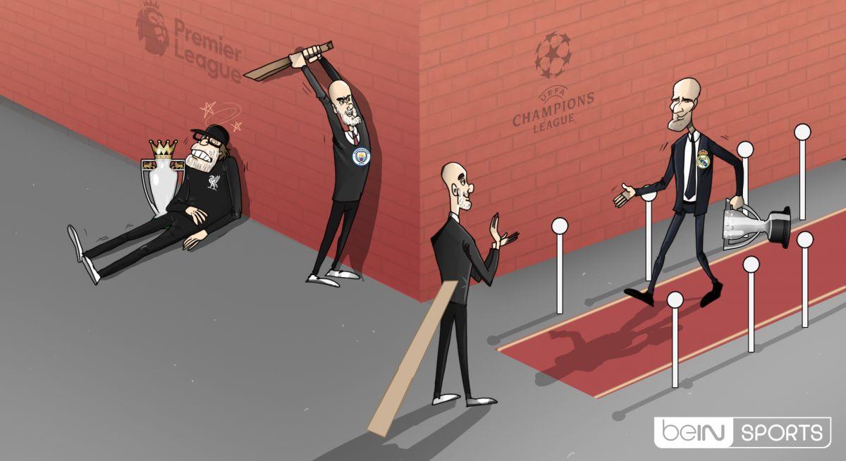 "Karikatura: Gvardiola ""Liverpul""dan so'ng ""Real""ni  ham mag'lub eta oladimi?"