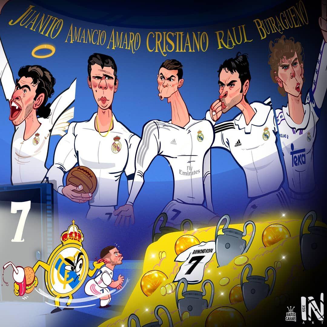 """Karikatura: """"Real""""ning afsonaviy 7-raqamli o'yinchilari va Azar"""