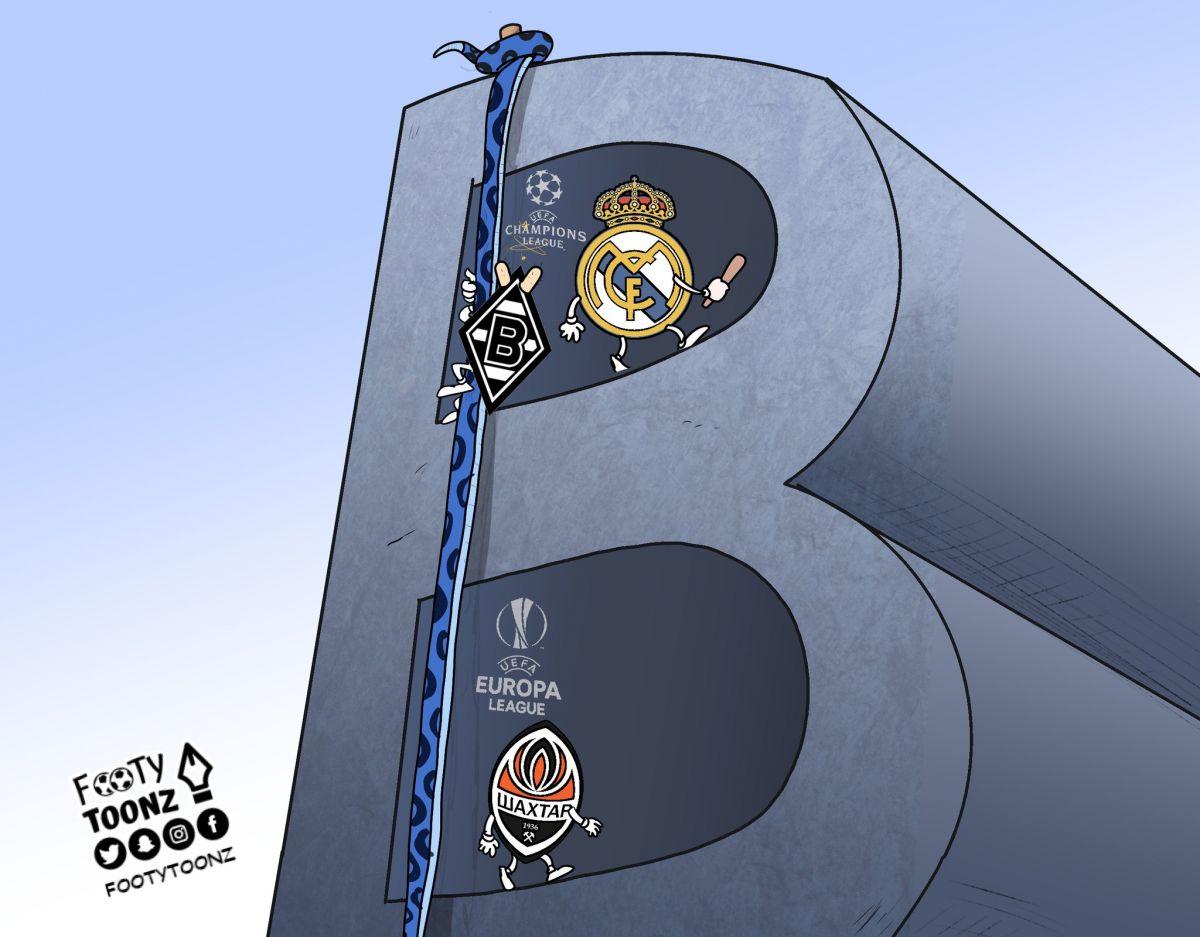 """Karikatura: """"Real"""" va """"Borussiya M"""" guruhdan chiqdi, """"Inter"""" esa evrokuboklarsiz qoldi"""