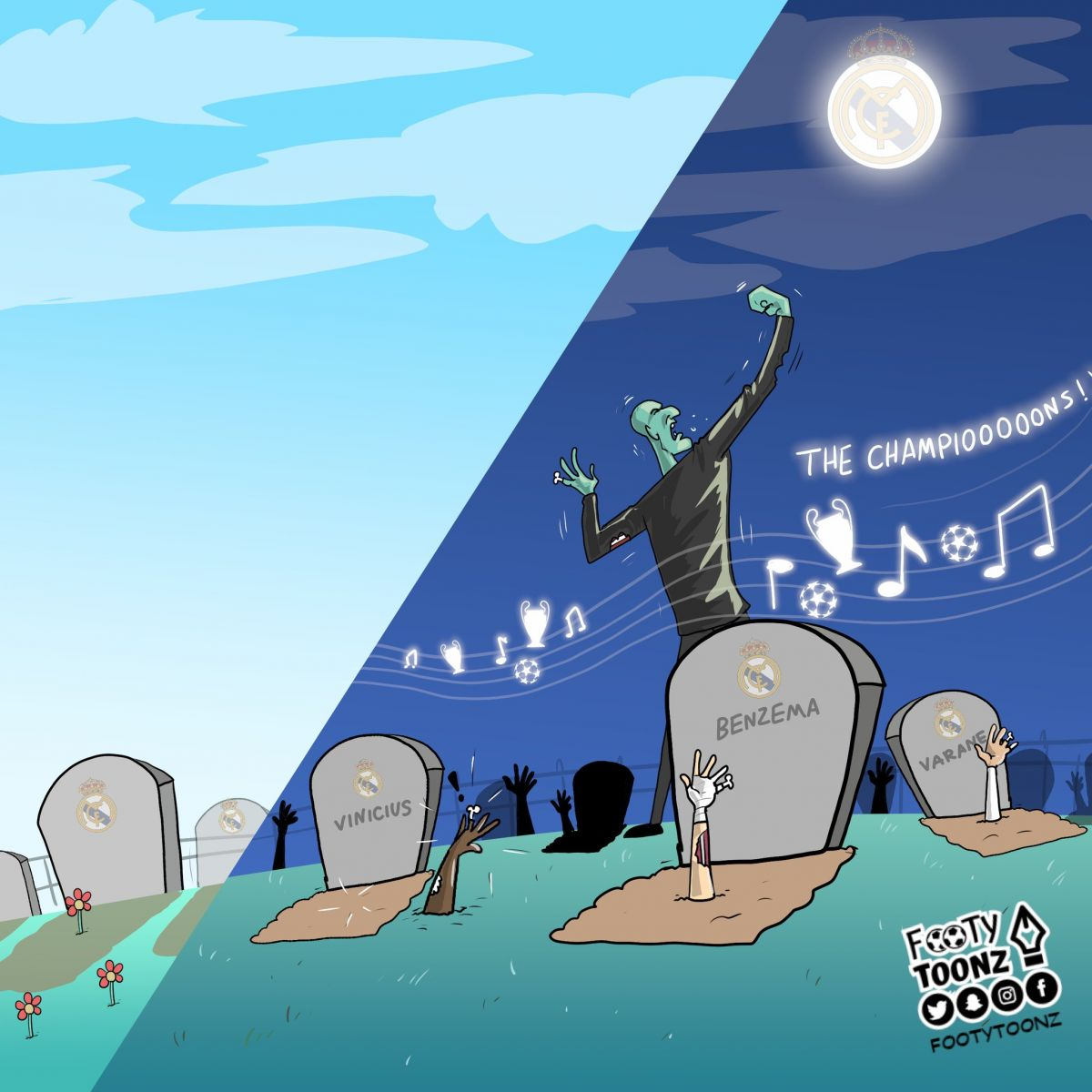 Karikatura: Zidan CHempionlar Ligasi madhiyasini eshitmoqda