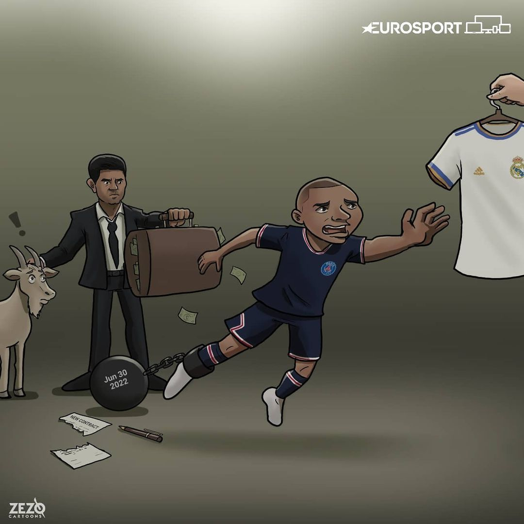 "Karikatura: Mbappe ""Real""ga o'tishni xohlamoqda"